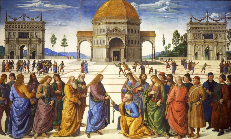 Handing the Keys to St. Peter, by Pietro Perugino, c. 1481-81. Sistine Chapel, Vatican City, Vatican City. Via IllustratedPrayer.com