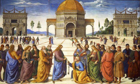 Handing the Keys to St. Peter, by Pietro Perugino, c. 1481-81. Sistine Chapel, Vatican City, Vatican City.