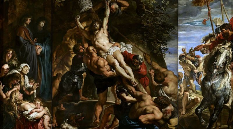 The Elevation of the Cross, by Peter Paul Rubens, c. 1610-11. Cathedral of Our Lady, Antwerp, Belgium. Via IllustratedPrayer.com