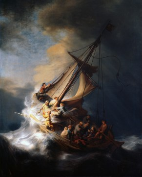 The Storm on the Sea of Galilee, by Rembrandt van Rijn, c. 1633. Whereabouts unknown since the Isabella Stewart Gardner Museum theft in 1990. Via IllustratedPrayer.com