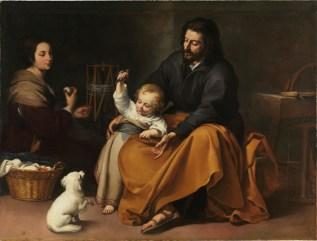 Holy Family with Bird, by Bartolomé Esteban Murillo, c. 1650. Museo de Prado, Madrid, Spain. Via IllustratedPrayer.com