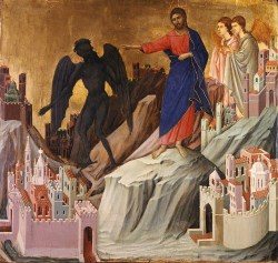 The Temptation of Christ on the Mountain, by Duccio di Buoninsegna, c. 1308-11. The Frick Collection Museum, New York, New York, United States.
