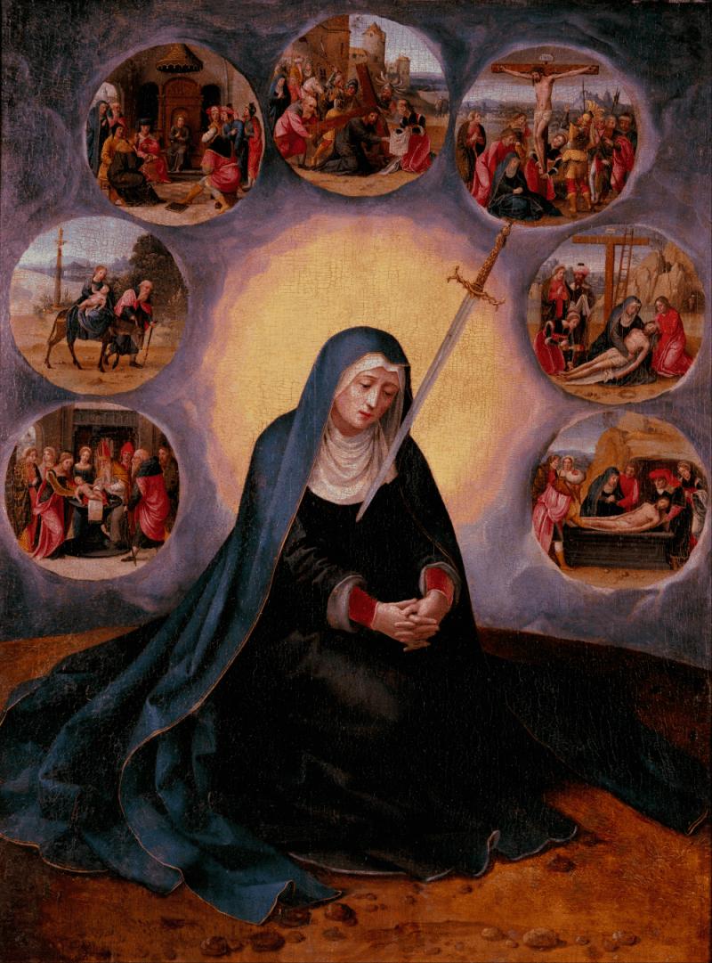 Virgin of the Seven Sorrows, by Master of the Female Half-Lengths, c. 16th century. Museu Nacional d'Art de Catalunya, Barcelona, Spain. Via IllustratedPrayer.com