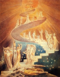 Jacob's Ladder, by William Blake, c. 1799-1806. Private collection. Via IllustratedPrayer.com