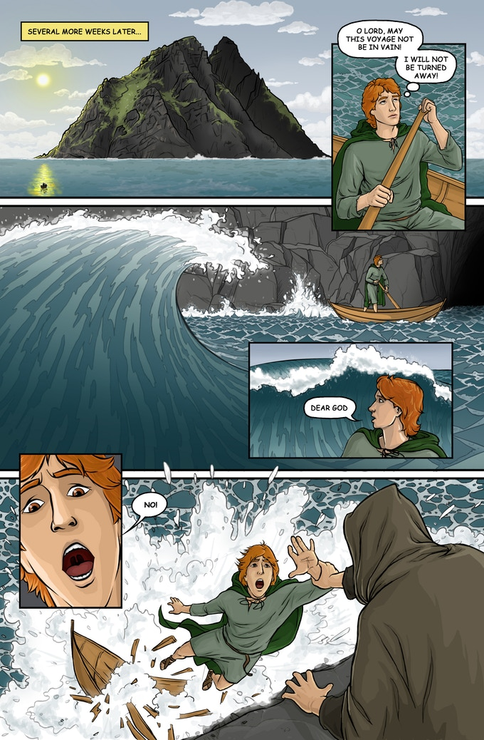 Sample Comic Page of The Last Monks of Skellig Michael, by Michael LaVoy, c. 2017. Copyright to Michael LaVoy. Panel is used from his Kickstarter page to promote his project. Via IllustratedPrayer.com