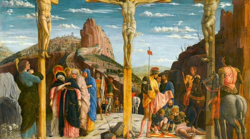Crucifixion, by Andrea Mantegna, c. 1457-59. The Louvre, Paris, France. Via IllustratedPrayer.com