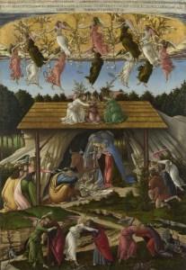Mystic Nativity, by Sandro Botticelli, c. 1500-01. National Gallery, London, United Kingdom. Via IllustratedPrayer.com
