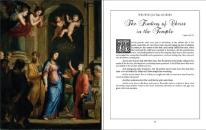A look inside Karina Tabone's book, The Joyful Mysteries from the Illustrated Rosary series. These pages show the scripture passage introducing the mystery of Finding Christ in the Temple, illustrated by an artwork of Mary meeting the child Jesus in the temple. Via IllustratedPrayer.com