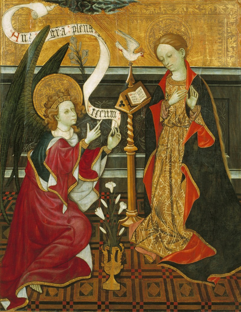 Annunciation, c. 1420. Museu Nacional d'Art de Catalunya, Barcelona, Spain. Via IllustratedPrayer.com