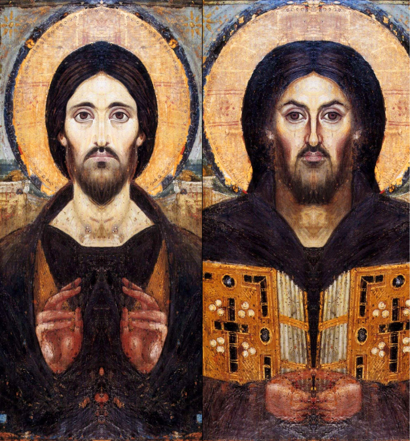Mirrored composites of left and right sides of the icon, Christ Pantocrator, 6th century. St. Catherine's Monastery, Sinai, Egypt. Via IllustratedPrayer.com