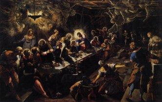 The Last Supper, by Il Tintoretto, c. 1592-94. San Giorgo Maggiore, Venice, Italy. Via IllustratedPrayer.com