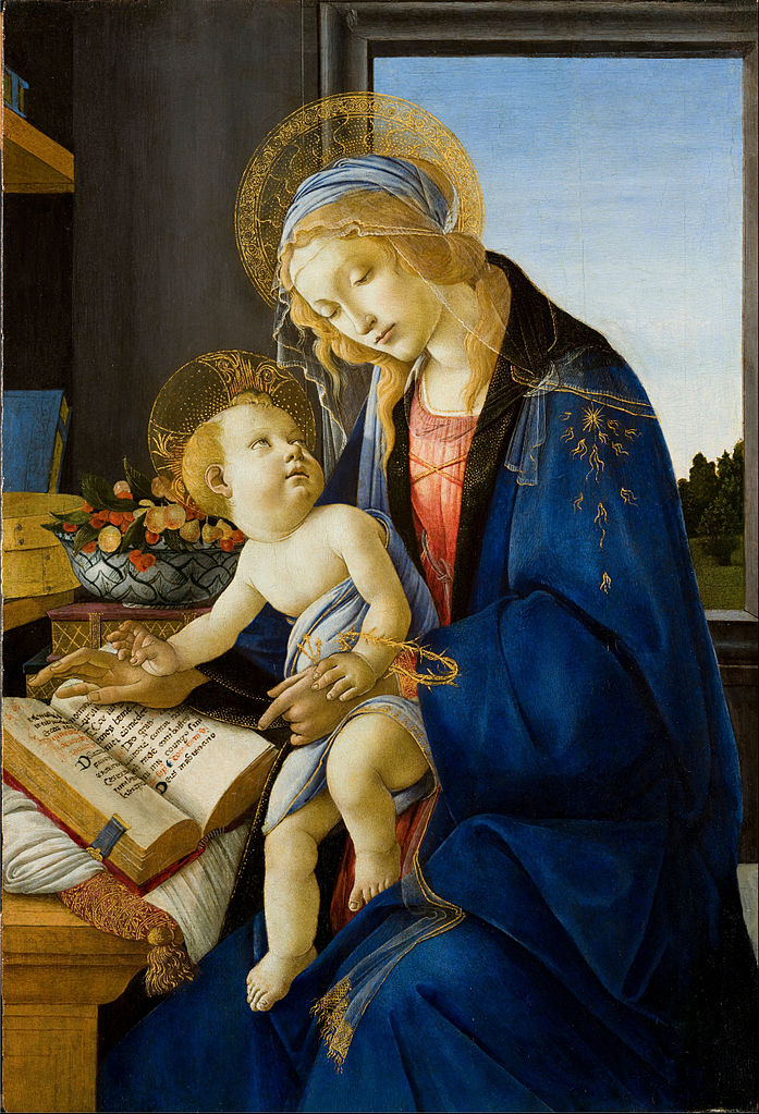 Virgin and Child (Madonna and the Book), by Sandro Botticelli, c. 1480. Museo Poldi Pezzoli, Milan, Italy. Via IllustratedPrayer.com