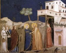The Visitation, by Giotto, c. 1310s. Lower Church, San Francesco, Assisi, Italy. Via IllustratedPrayer.com
