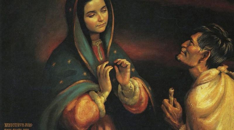St. Juan Diego and the Virgin. Via IllustratedPrayer.com