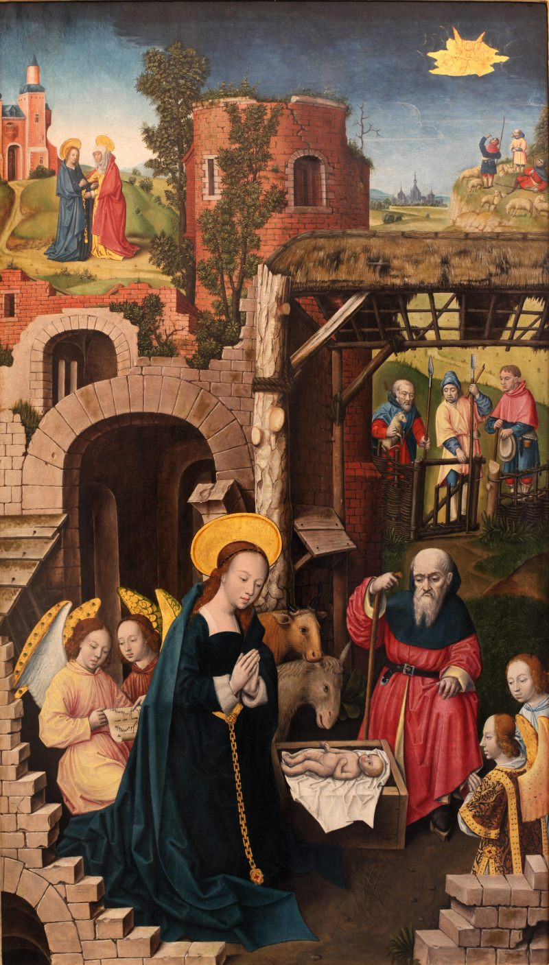 The Nativity, by Monogrammist A.H., c. 1500. Museum of Fine Arts of Lyon, Lyon, France. Via IllustratedPrayer.com