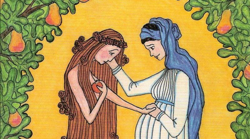 Mary and Eve, by Sister Grace Remington, OCSO, from Sisters of the Mississippi Abbey in Dubuque, Iowa. Copyright to Sister Grace Remington.