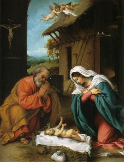 Nativity of Christ, by Lorenzo Lotto, c. 1523. National Gallery of Art, Washington, D.C., United States. Via IllustratedPrayer.com
