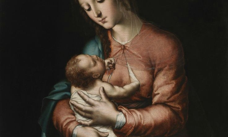 The Virgin Nursing the Child, by Luis de Morales, c. 1560-65. Museo del Prado, Madrid, Spain. Via IllustratedPrayer.com