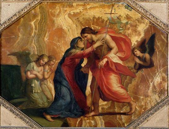 Jesus Christ Receiving the Virgin in Heaven, by Jacques Stella, c. 17th century. Louvre Museum, Paris, France. Via IllustratedPrayer.com