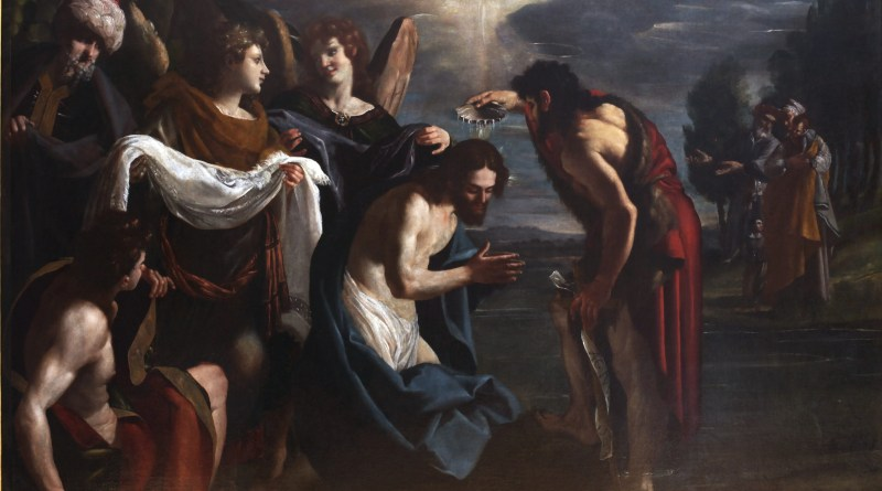 The Baptism of Christ, by Emilio Savonanzi, c. 1630-35. Musée des Beaux-Arts, Lyon, France. Via IllustratedPrayer.com
