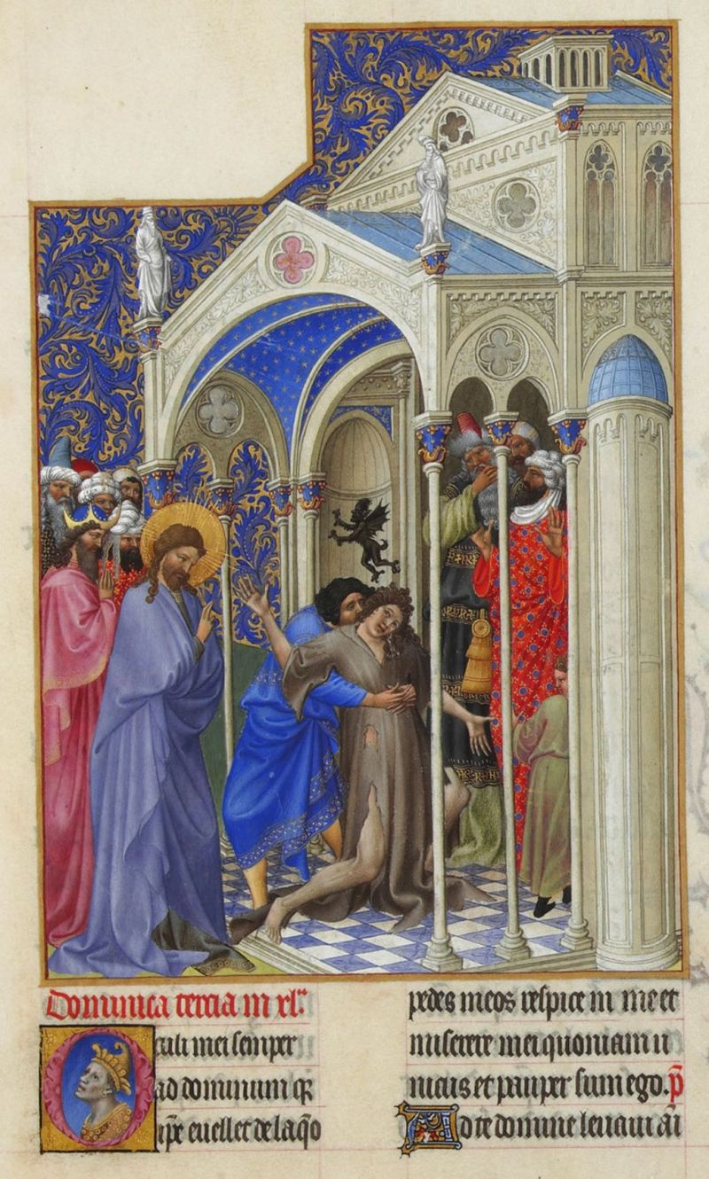 The Exorcism from Les Très Riches Heures du duc de Berry, c. 15th century. Musée de Conde, Chantilly, France. Via IllustratedPrayer.com