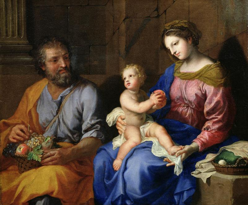 The Holy Family, by Jacques Stella, c. 17th century. Private collection. Via IllustratedPrayer.com