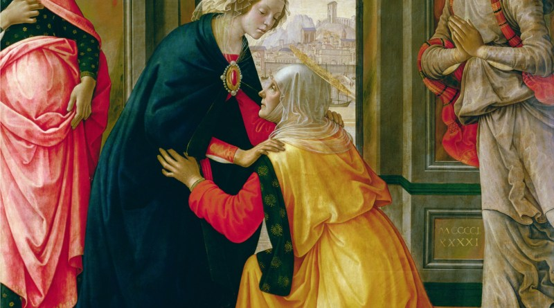 Visitation, by Domenico Ghirlandaio, c. 1491. Louvre Museum, Paris, France. Via IllustratedPrayer.com