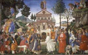 Temptations of Christ, by Sandro Botticelli, c. 1481-82. Sistine Chapel, Vatican City, Rome, Italy. Via IllustratedPrayer.com