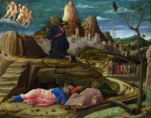 The Agony in the Garden, by Andrea Mantegna, c. 1458-60. National Gallery, London, United Kingdom. Via IllustratedPrayer.com