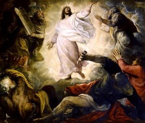 Transfiguration, by Titian, c. 1560. San Salvador, Venice, Italy. Via IllustratedPrayer.com