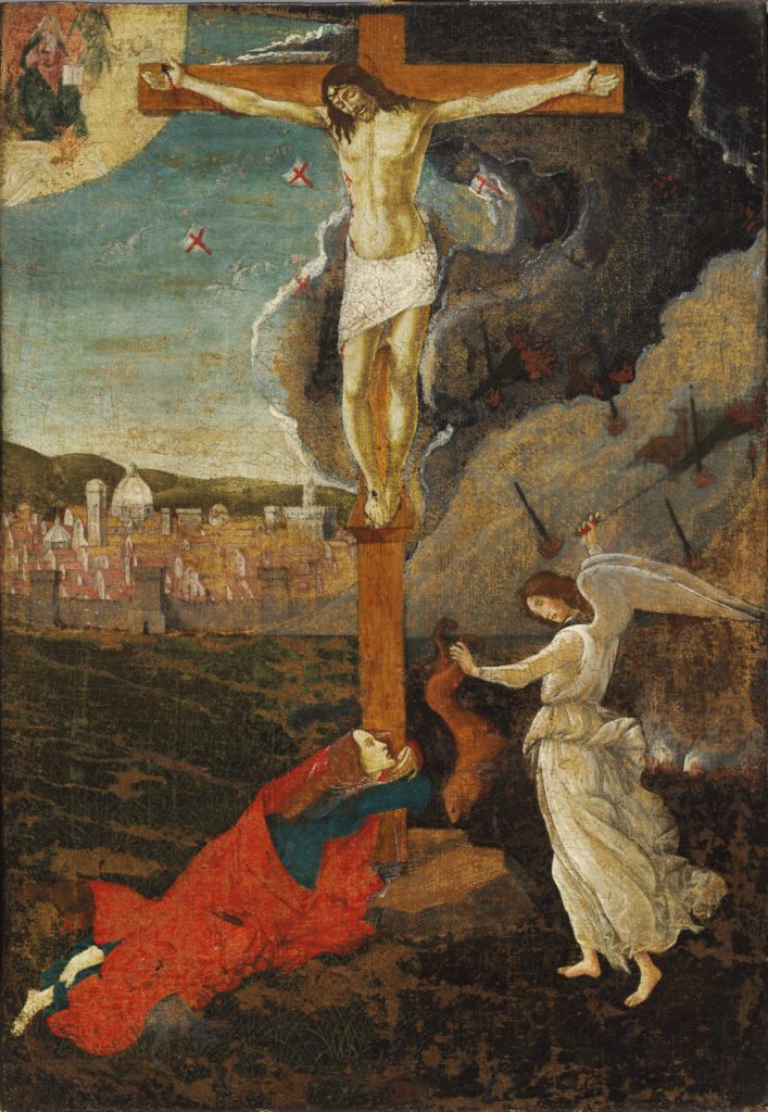 Mystic Crucifixion, by Sandro Botticelli, c. 1500. Fogg Museum, Boston, Massachusetts, United States. Via IllustratedPrayer.com