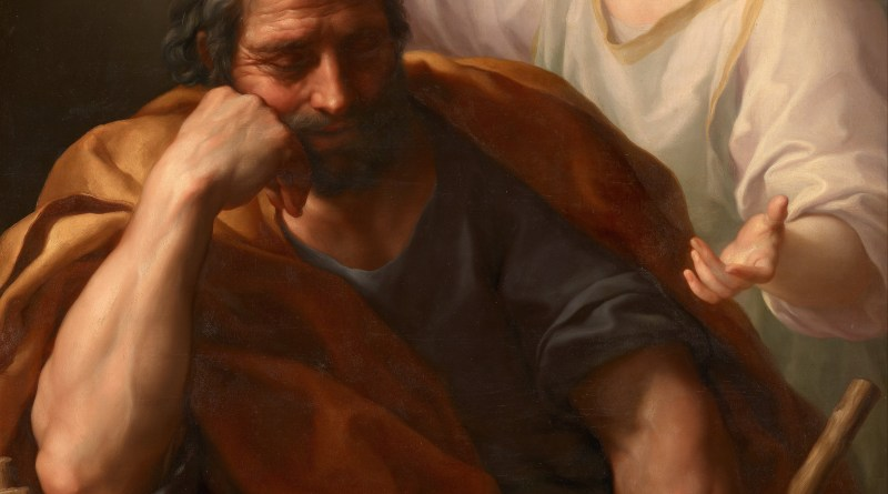 The Dream of St. Joseph, by Anton Raphael Mengs, c. 1773-74. Kunsthistorisches Museum, Vienna, Austria. Via IllustratedPrayer.com