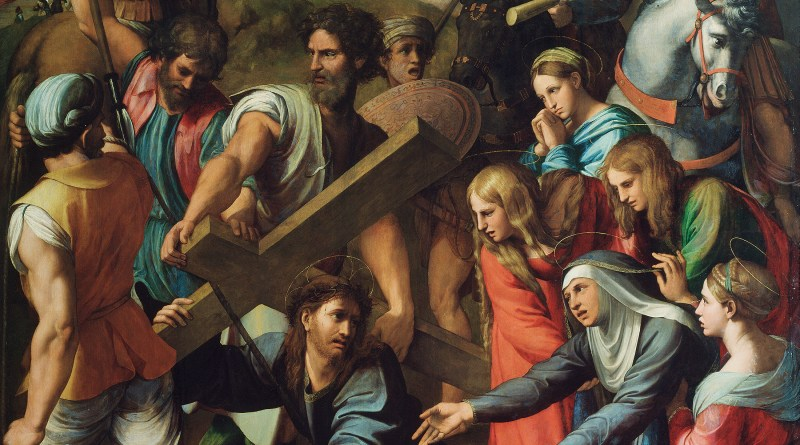 Christ Falling on the Way to Calvary, by Raphael, c. 1514-16. Museo del Prado, Madrid, Spain. Via IllustratedPrayer.com