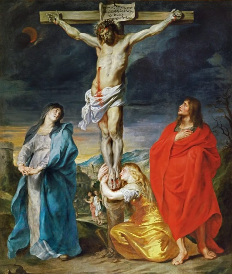 Christ Crucified with the Virgin, Saint John and Mary Magdalene, by Anthony van Dyck, c. 1617-19. Louvre Museum, Paris, France. Via IllustratedPrayer.com
