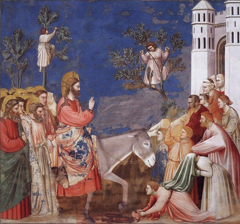 Entry Into Jerusalem, by Giotto di Bondone, c. 1304-06. Scrovegni Chapel, Padua, Italy. Via IllustratedPrayer.com