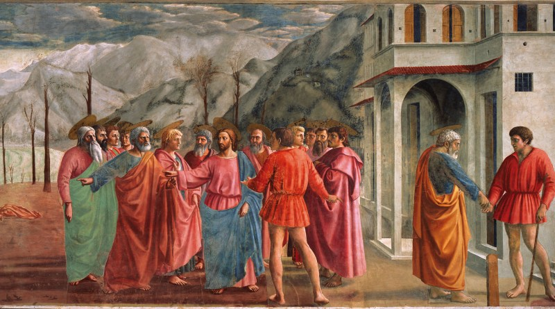 The Tribute Money, by Masaccio, c. 1425. Brancacci Chapel, Florence, Italy. Via IllustratedPrayer.com