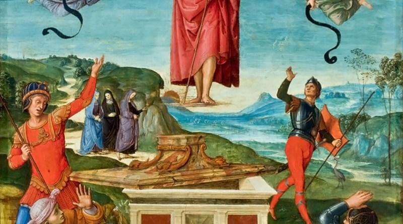 Resurrection of Christ, by Raphael (Raffaello Sanzio), c. 1499-1502. Sao Paulo Museum of Art, Sao Paulo, Brazil. Via IllustratedPrayer.com