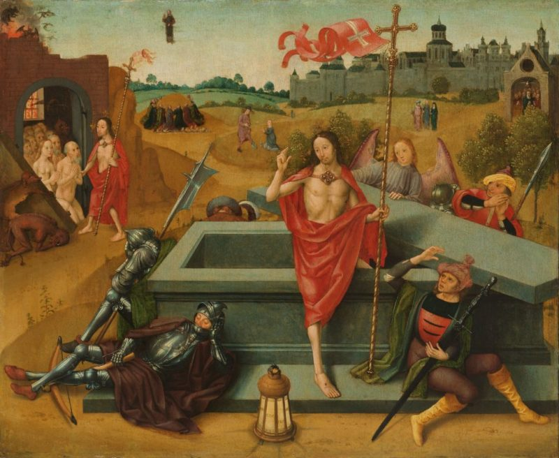 Resurrection of Christ, by Master of the Amsterdam Death of the Virgin, c. 1485-1500. Rijksmuseum, Amsterdam, Netherlands. Via IllustratedPrayer.com