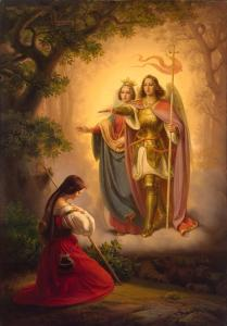 Appearance of Sts Catherine and Michael to Joan of Arc (Left-Hand Part of ''The Life of Joan of Arc'' Triptych), by Hermann Anton Stilke, c. 1843. State Hermitage Museum, St. Petersburg, Russia. Via IllustratedPrayer.com