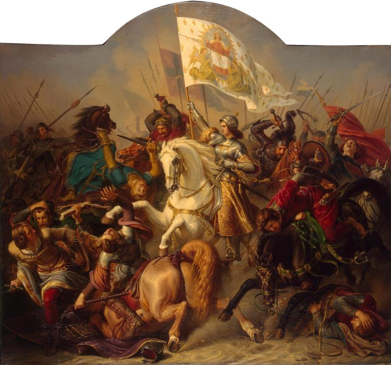 Joan of Arc in Battle (Central Part of ''The Life of Joan of Arc'' Triptych), by Hermann Anton Stilke, c. 1843. State Hermitage Museum, St. Petersburg, Russia. Via IllustratedPrayer.com