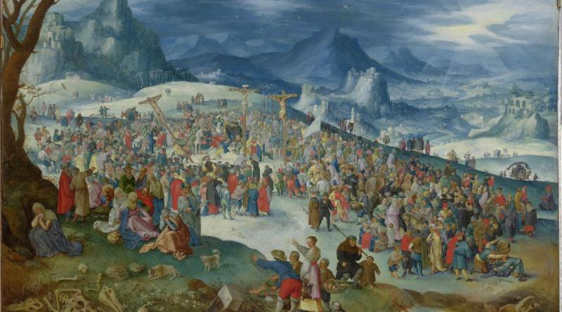 Calvary, by Jan Brueghel I, c. 1610. National Gallery of Victoria, Melbourne, Australia. Via IllustratedPrayer.com