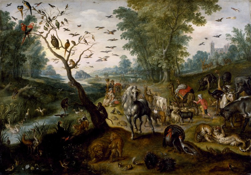 Noah's Family Assembling Animals before the Ark, by Jan van Kessel II, c. 1660. Walters Art Museum, Baltimore, Maryland, United States. Via IllustratedPrayer.com