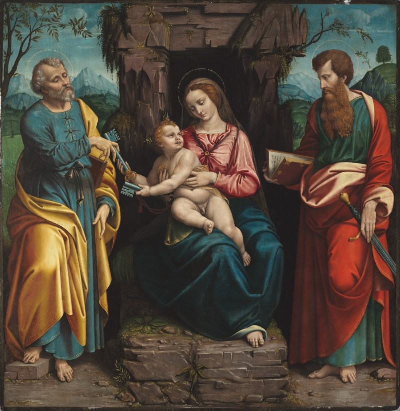 The Virgin and Child with Saints Peter and Paul, by Girolamo Figino, c. 16th century. Fogg Art Museum, Boston, Massachusetts, United States. Via IllustratedPrayer.com