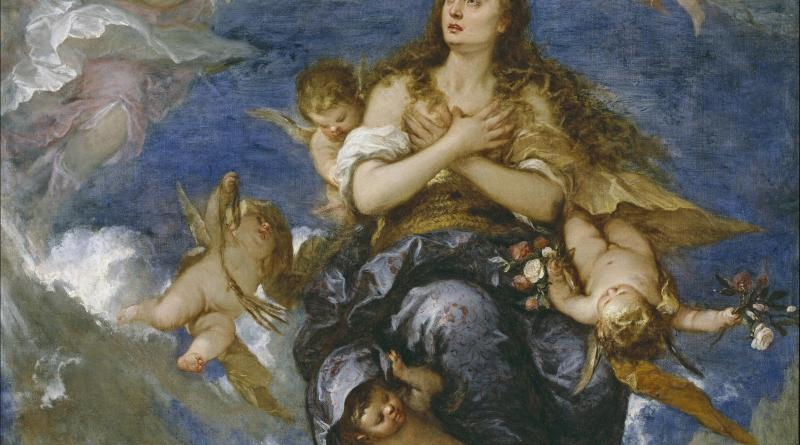 Assumption of Mary Magdalene, by José Claudio Antolinez, c. 1672. Museo del Prado, Madrid, Spain. Via IllustratedPrayer.com
