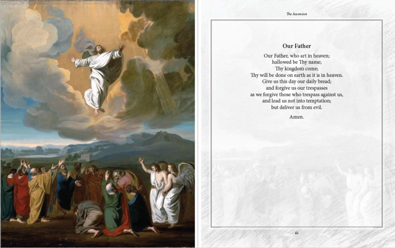 An excerpt from the Ascension chapter, featuring the Our Father prayer. From The Glorious Mysteries, by Karina Tabone. Via IllustratedPrayer.com