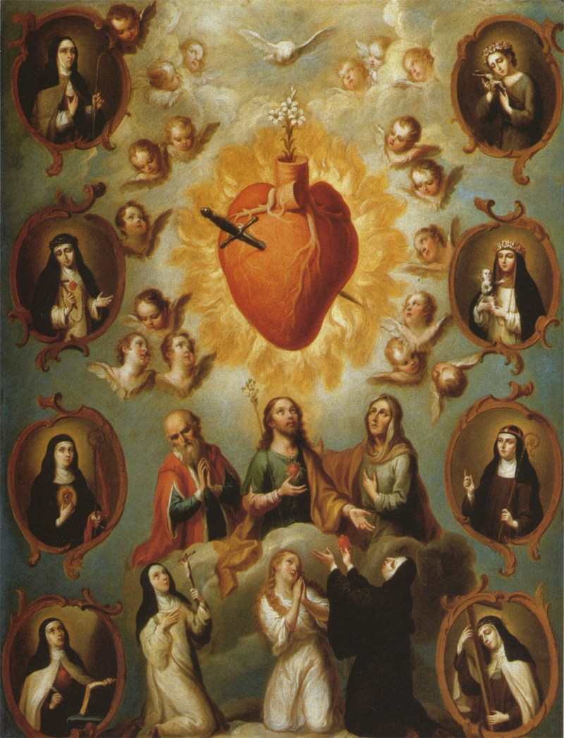 Sacred Heart of Mary, by Juan Patricio Morlete, c. 18th century. Museo Soumaya, Mexico City, Mexico. Via IllustratedPrayer.com