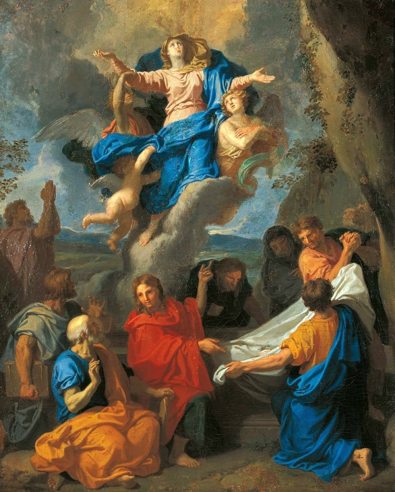 Assumption of the Virgin, by Charles Le Brun, c. 1670s. Museum of King John III's Palace at Wilanów, Warsaw, Poland. Via IllustratedPrayer.com
