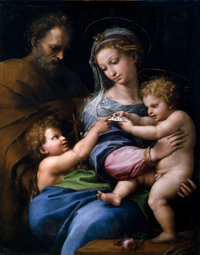 Madonna of the Rose, by Raphael, c. 1517. Museo del Prado, Madrid, Spain. Via IllustratedPrayer.com