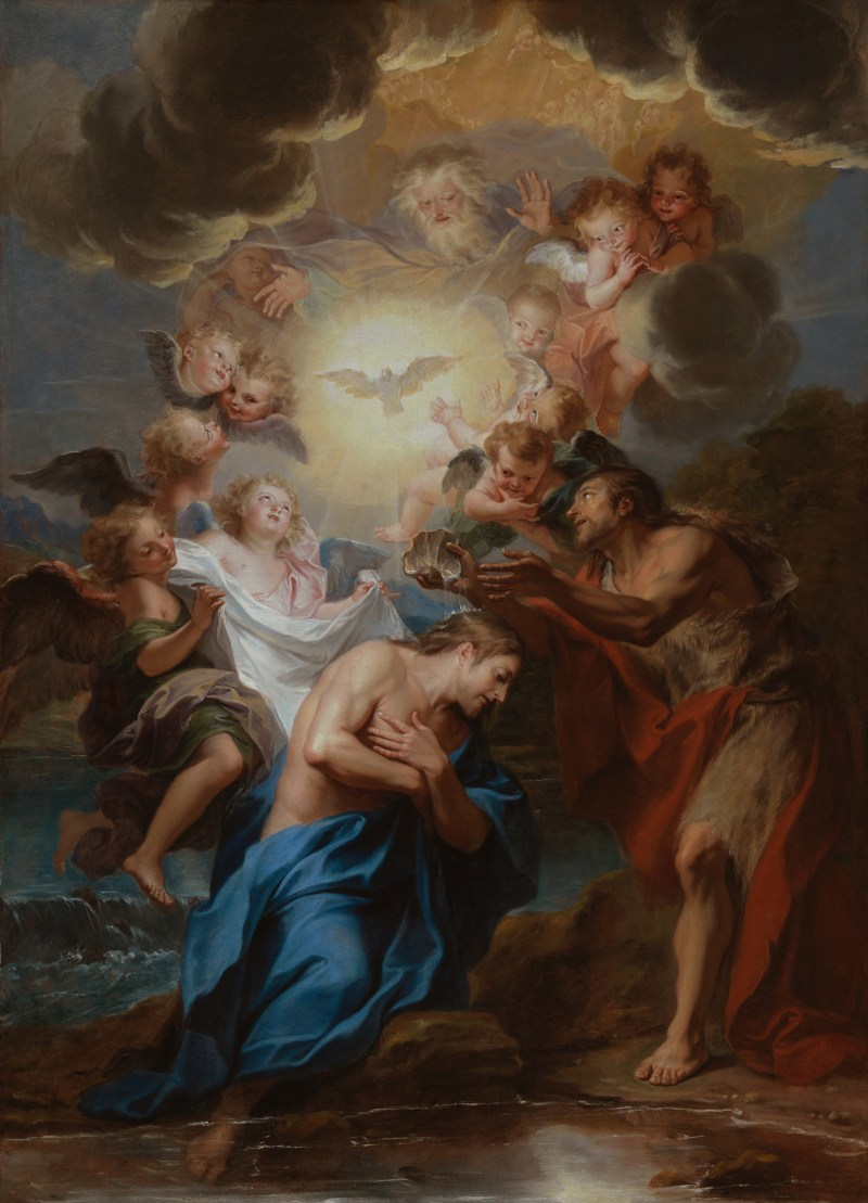 The Baptism of Christ, by Antoine Coypel, c. 1690. Los Angeles County Museum of Art, Los Angeles, California, United States. Via IllustratedPrayer.com