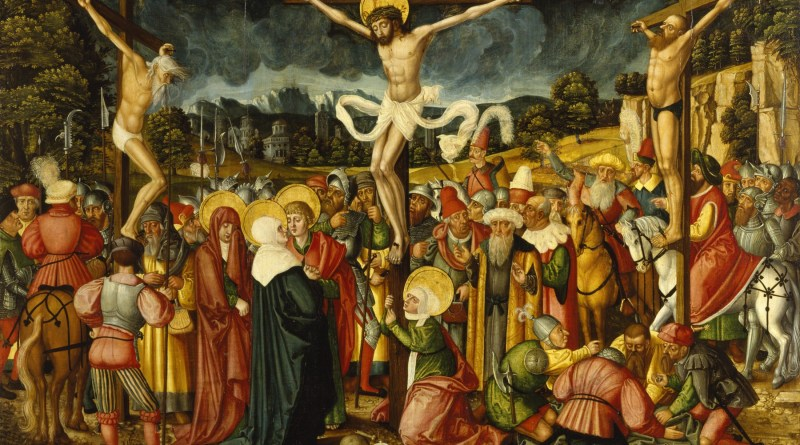 Crucifixion, by Peter Gertner, c. 1537. Walters Art Museum, Baltimore, Maryland, United States. Via IllustratedPrayer.com